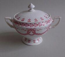 Sarreguemines. Sucrier en porcelaine forme Empire décor laurier rouge