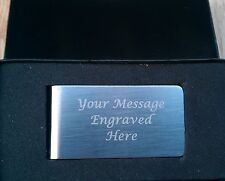 Personalised Engraved Stainless Steel Money Clip + Gift Box  Birthday Wedding