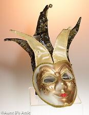 Mardi Gras Jester Mask Gold & Black Fancy Carnival Face Mask