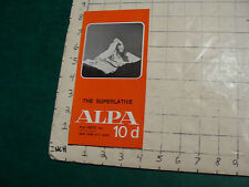 Vintage High Grade brochure: ALPA 10d The Superlative 1970 camera
