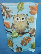 NEW BIG EYED OWL ON BRANCH & AUTUMN COLOR LEAVES GARDEN YARD FLAG 12.5 X 18 CUTE
