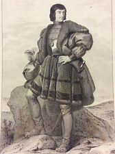 Chevalier Bayard Pierre seigneur de Terrail (1476-1524) estampe du XIXe