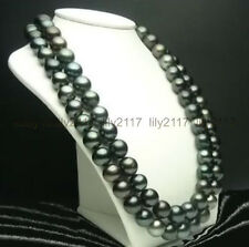 36 INCH  HUGE AAA 10-11 MM TAHITIAN BLACK PEARL NECKLACE 14K Clasp
