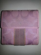 Authentic COACH Leather SUEDE Jacquard pink wallet bi-fold small