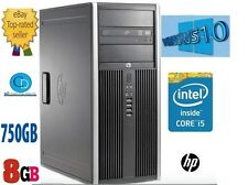 Torre de elite de computadoras HP i5 6200.3.10 GHZ.2400 CPU.750GB. 8GB.WIN10 Pro-DVD + RW