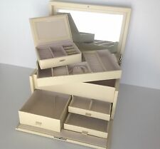 POTTERY BARN MCKENNA LEATHER LARGE JEWELRY BOX IVORY MADE BY WOLF FREE SHIPPING