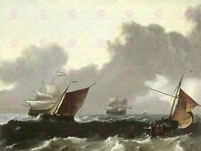 PAINTING SEASCAPE MARITIME BAKHUIZEN STORM AT SEA LARGE ART PRINT POSTER LF1652
