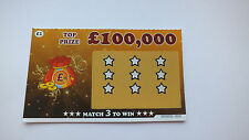 4 x JOKE FAKE PRANK TRICK £100,000 Winning (not) Scratchcards Scratch Cards