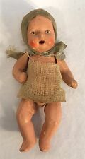 Antique Vintage Miniature German Porcelain Bisque Baby Doll Original Clothes