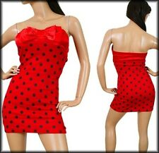 Red w/Black Polka Dot Tube Dress & front Red solid Bow. Petite Small & Medium.
