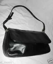 Women Black Club Hand Bag Purse Real Leather Flap Over Size Small