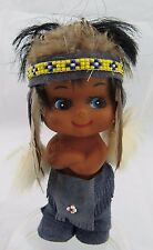 vintage 1960's Indian Vinyl/Rubber Doll - Leather Pants, Real Feathers, Beads, &