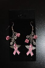 PINK RIBBON BREAST CANCER AWARENESS  EARRINGS ANGEL WINGS