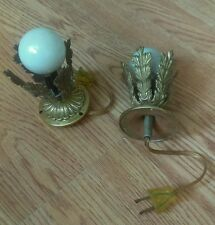 2 Antique Decorative Brass Gas Converted to Electric Wall/Ceiling Light Lamps