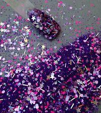 glitter mix acrylic gel nail art   PURPLE BLAST