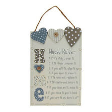 HOUSE RULES WALL HANGING WOOD SIGN PLAQUE HEARTS BUTTON DECORATION 40857 H