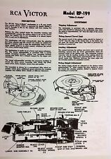 RCA VICTOR RP199 Series 45 RPM Record Changer Manual for 6JM1, 2, 25, 6XY5A, B