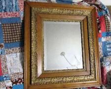 LARGE ANTIQUE VICTORIAN SOLID OAK & ORNATE GESSO BEVELED MIRROR PICTURE FRAME