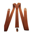 BROWN GENTS MENS 35mm WIDE ADJUSTABLE BRACES SUSPENDERS ELASTIC PLAIN CLASSIC
