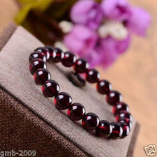 Genuine Natural 8mm Rose Red Garnet Crystal Round Beads Stretch Bracelet Bangle