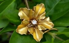 Antique 18k Yellow Gold Diamond Flower Brooch Pin Pendant Estate Jewelry