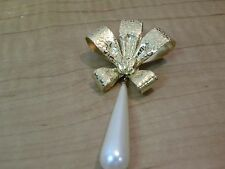 """Monet signed Faux Pearl Embossed Gold Tone Bow Dangling Pin Brooch 3"""" Long"""