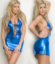 Blue lace up wet look  PVC clubwear, mini dress one size fits 8/10/12.....
