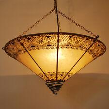 Orientalische Lampe Hennalampe Deckenlampe Marokko Lederleuchte -Rossor- NATUR