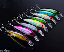 Lot 8pcs Laser Internal Coloring Minnow Fishing Lures Rattles Floating 11cm
