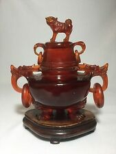 Antique Hand Carved Chinese Amber Foo Dog Covered Urn