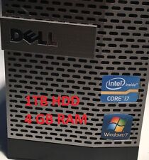 Dell Optiplex 790 SFF PC Windows 7 Intel I7, 3,40 GHz, 4GB 1TB HDD Fast