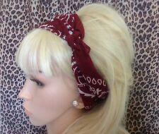 BURGUNDY PAISLEY COTTON BANDANA HEAD HAIR NECK SCARF RETRO ROCKABILLY 50s PIN UP