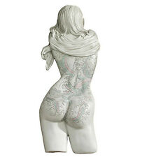 "16"" Tattooed Asian Nude Female Woman Girl Wall Sculpture"