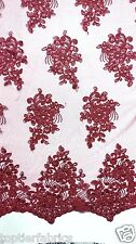"""Burgundy Embroidered Lace Sequin Fabric By The Yard Wedding Prom Table 46""""-60"""""""
