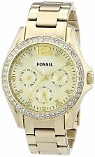 Fossil Women's ES3203 'Riley' Multi-Function Crystal Gold-Tone steel Watch