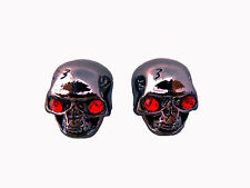 2pcs SKULL SPEED KNOB GUITAR or BASS ALAN SET SCREW Black Chrome METAL