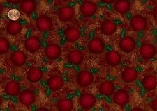 CLEARANCE - 1+YD MUMM 'COZY NW CHRISTMAS' APPLES ON BROWN FLANNEL FABRIC