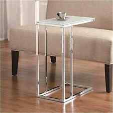 New Deco Contemporary Snack Table with Glass Top Slide Under Couch Side, Silver
