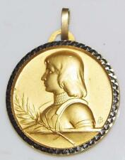 Signed St. Joan of Arc Vermeil Gold Holy Medal by Balme Patron Army Soldiers