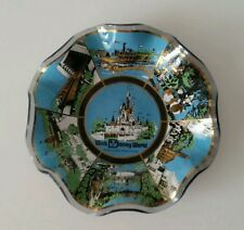 Vintage Walt Disney World Collector Wavy Smoked Glass Plate Magic Kingdom    (4)