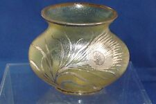 Antique Austrian Art Glass Irridized vase with Silver Overlay Thistile Flower