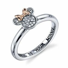 STERLING SILVER GENUINE NATURAL DIAMOND I'LL BE YOUR MINNIE DISNEY RING 8 MOUSE