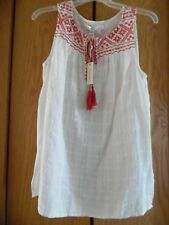 NWT Max Studio Edition Embroidered Mexican Peasant Top Hippie Folk Cotton Tank