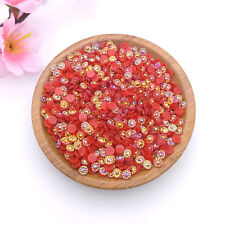 500pcs 4mm AB Red Sunflower Crystal Lot Facets Resin FlatBack Rhinestone A01