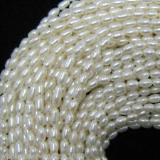 6-7mm White Freshwater Natural Rice Pearl Oval Loose Beads 15'' Strand