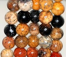 16MM PETRIFIED WOOD FOSSIL GEMSTONE BROWN ROUND 16MM LOOSE BEADS 16""