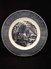 "Set of (8) Royal Currier & Ives 10"" Old Grist Mill Dinner Plates"