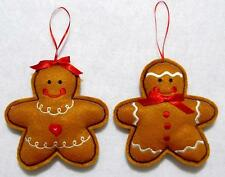 """HAND~CRAFTED 5 1/2"""" EMBROIDERED FELT GINGERBREAD BOY & GIRL CHRISTMAS ORNAMENTS"""