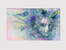 421 X LARGE CANVAS 18''X32''ABSTRACT FLOWER FACE BUTTERFLY PRINT PICTURE