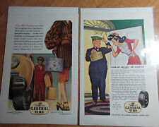 LOT OF 2 BOARDED 1944 & 46 GENERAL TIRE & RUBBER COMPANY ADS AKRON OHIO